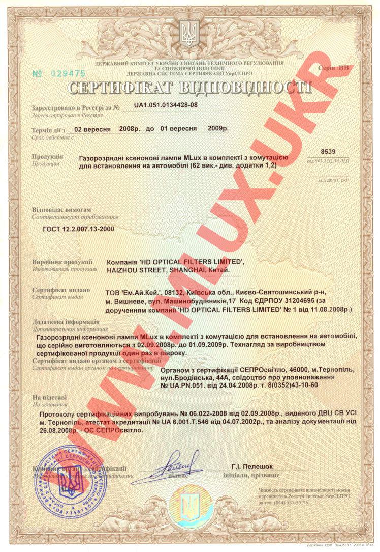 Сертификат лампы MLux